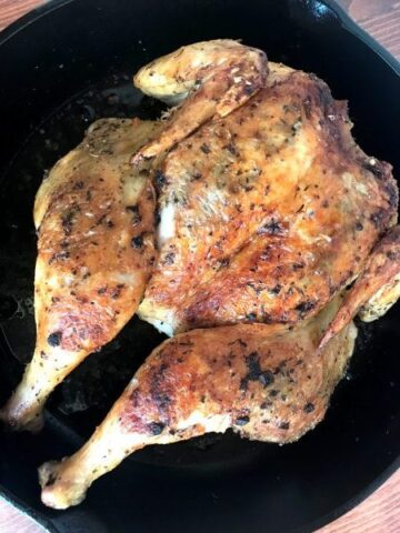 Roasted Chicken in a cast iron pan