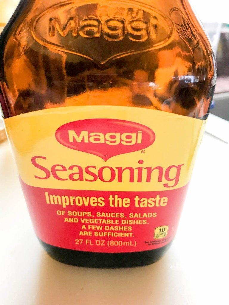 Maggi seasoning in a brown bottle