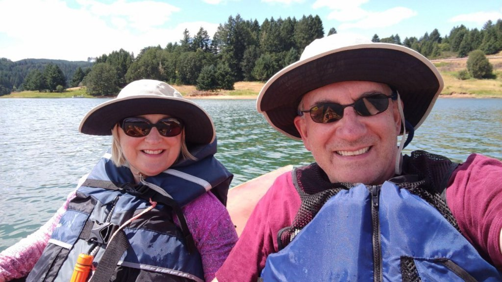 Blog author and husband kayaking