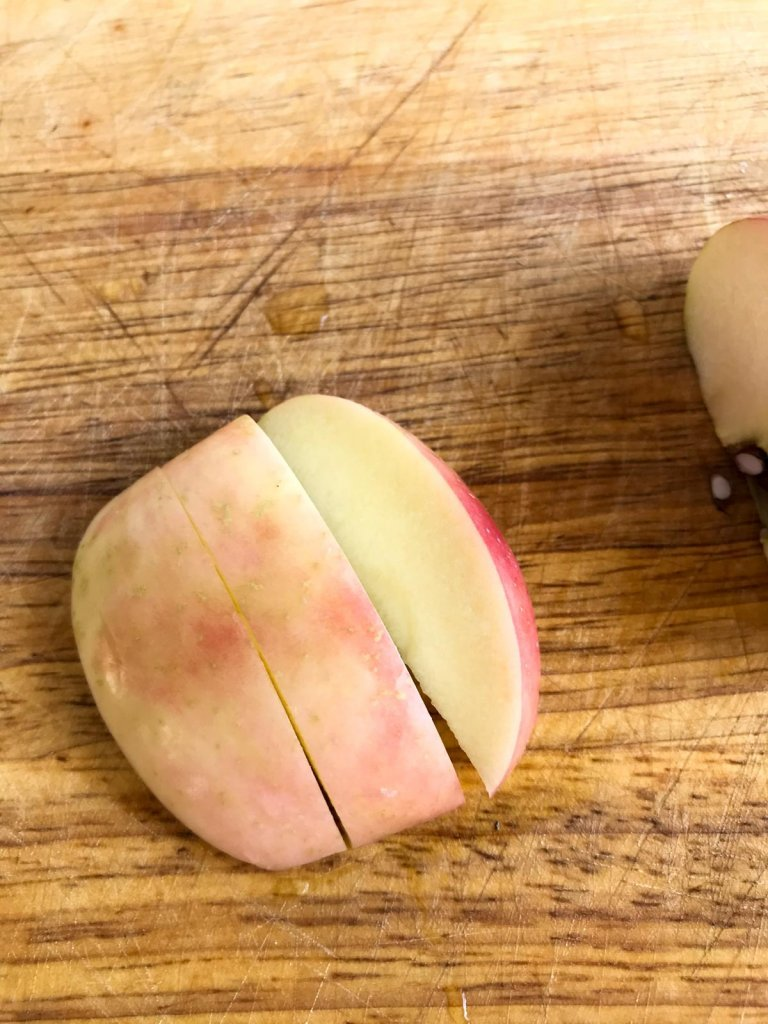 Slice apple into thirds