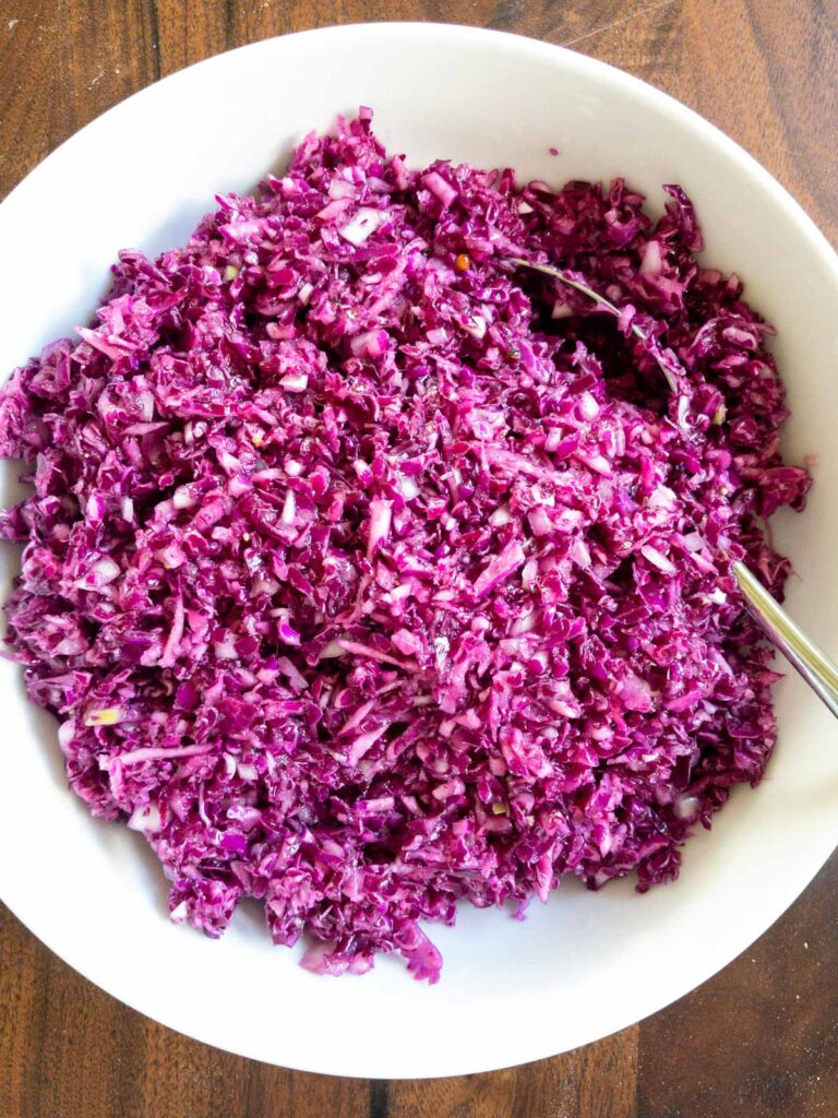 Red Cabbage Salad Top View