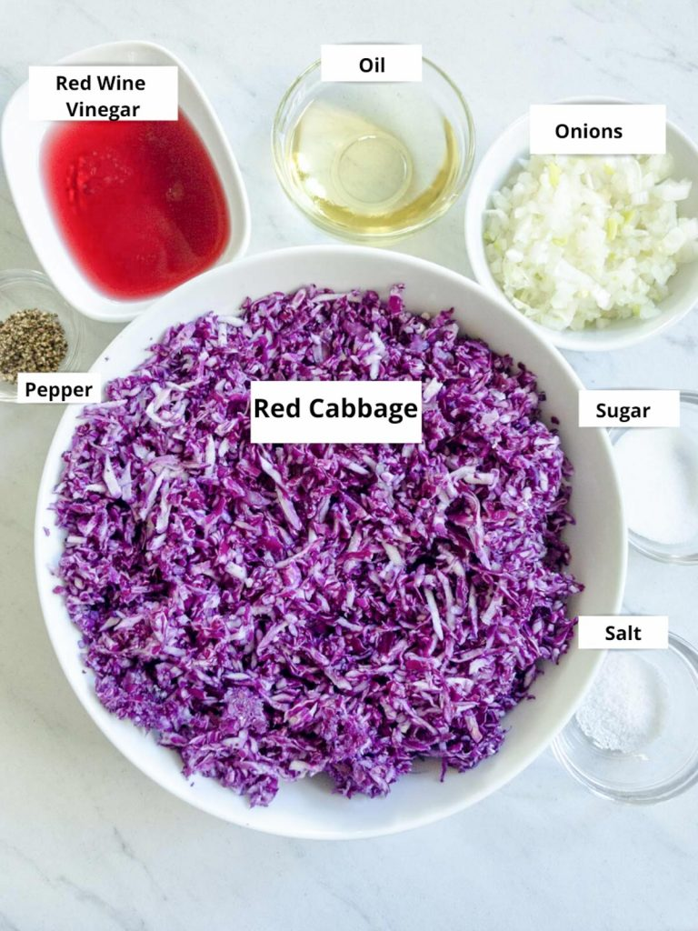 Red cabbage salad ingredients with labels
