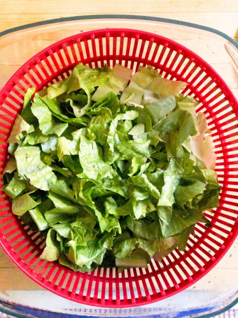 chopped romaine lettuce in a red basket of a lettuce spinner