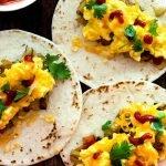 Three open face breakfast tacos