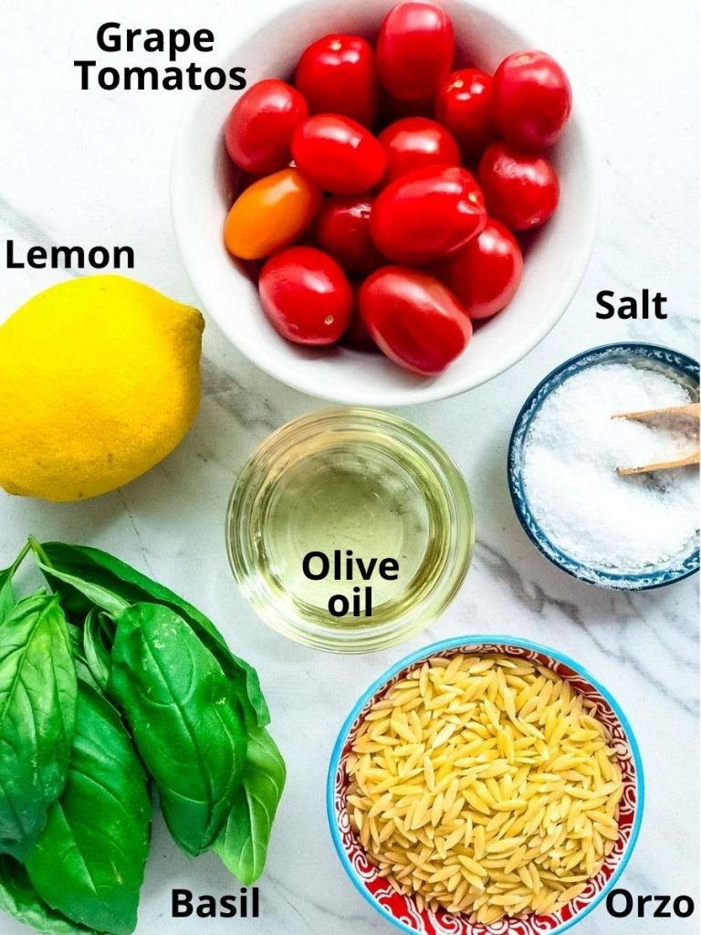 Pictures of ingredients for orzo pasta salad
