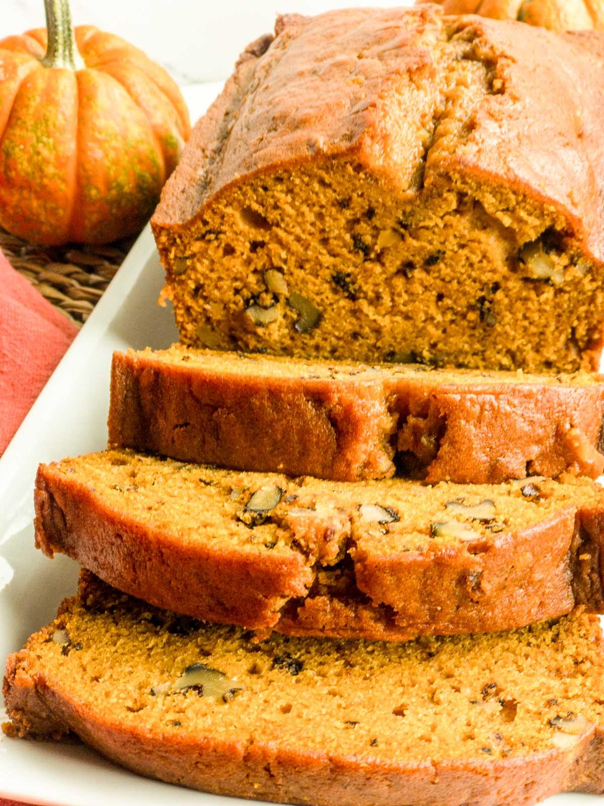 Sliced pumpkin bread on a white plate