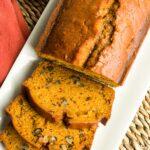 Pumpkin bread slices in a white plate