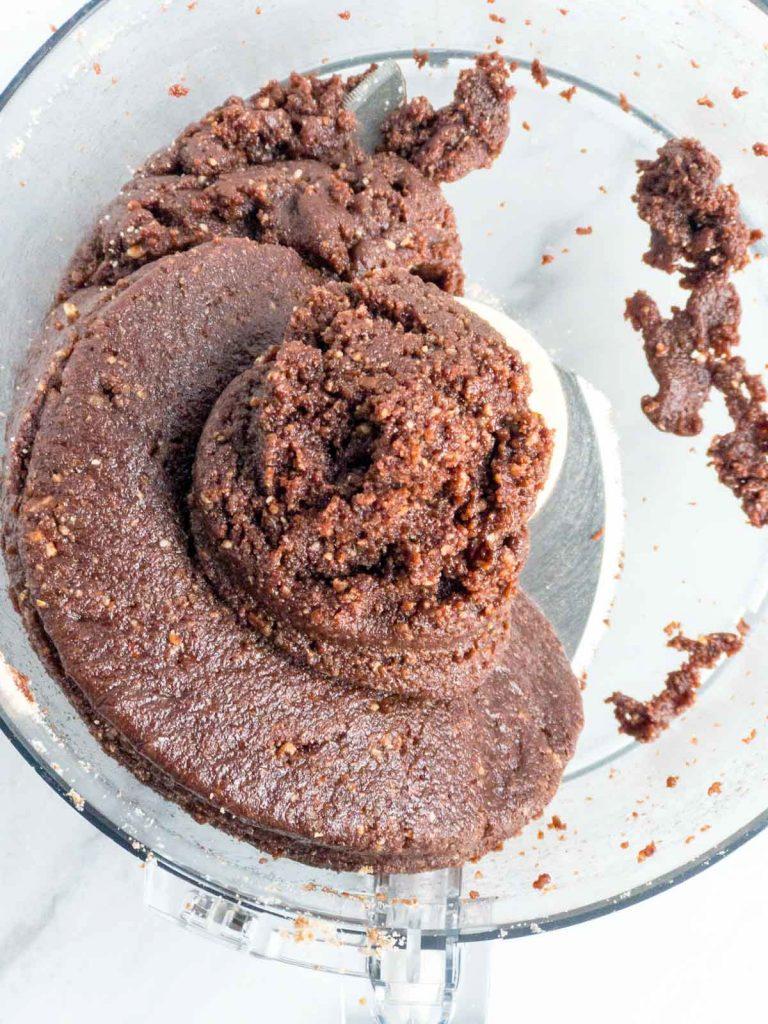 Rum ball dough in a food processor bowl