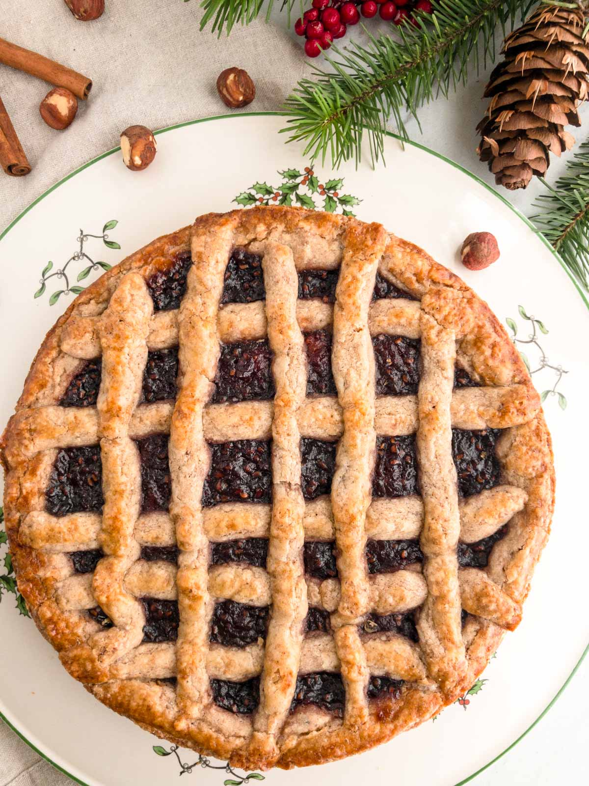 LInzer torte on a cake plate