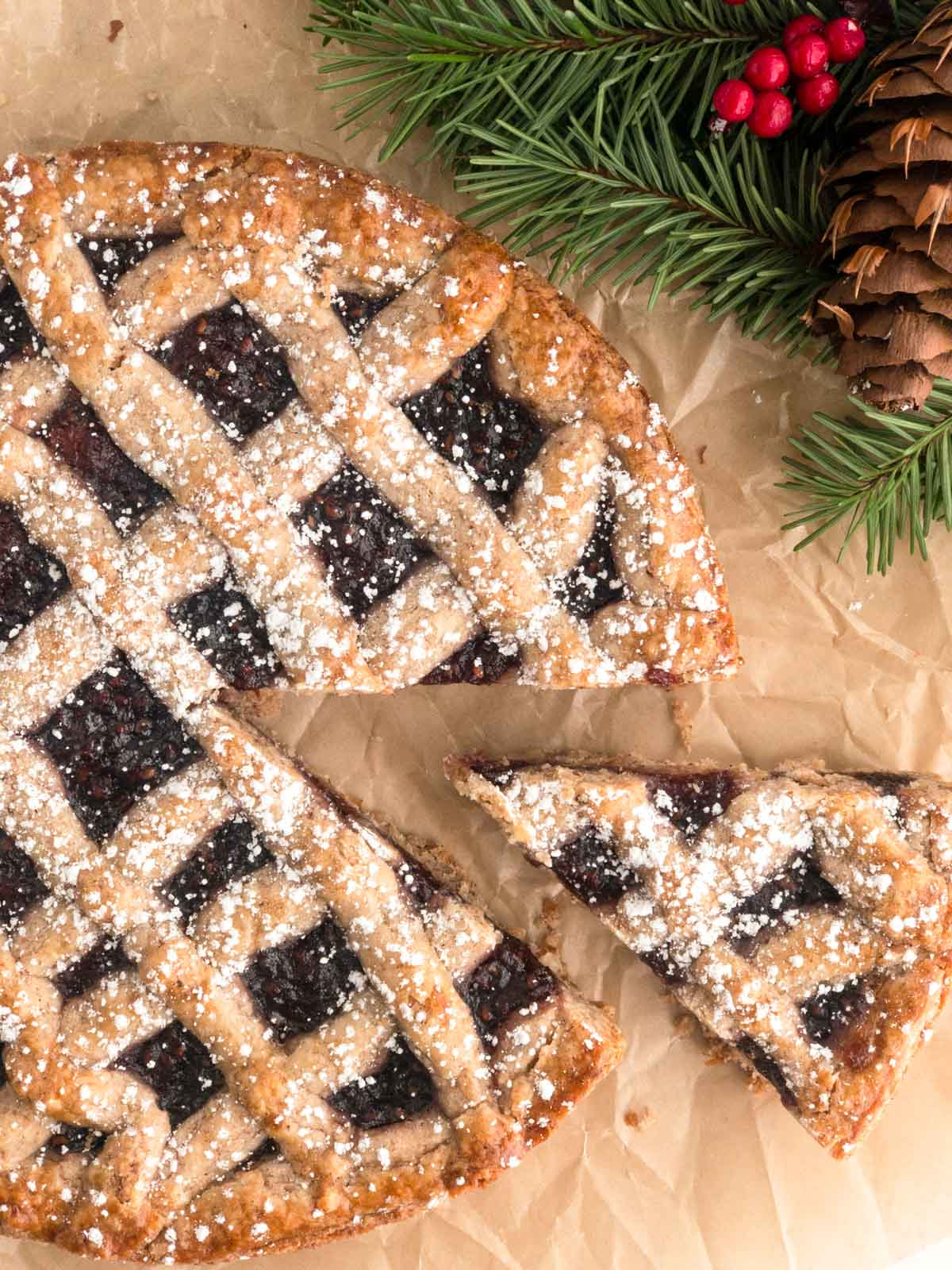 Top view of a Linzer Torte