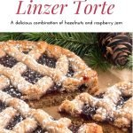 Pinterest pin-Linzer Torte on parchment a pine cone and pine tree branch